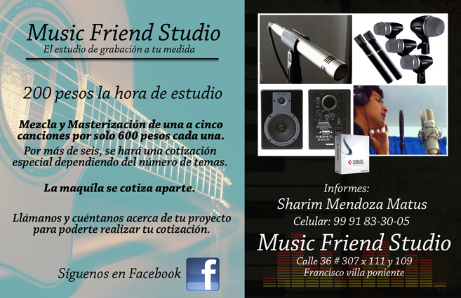 Flyer Número 1 de Music Friend Studio.